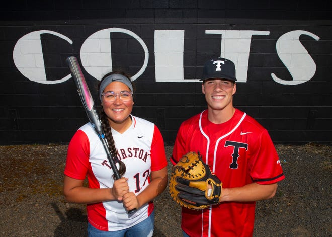 Twins Hope, left, and Isaiah Burke are two of the top players for Thurston's softball and baseball teams, respectively. The seniors will also be playing for the same college next year.