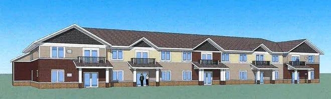 This is an artist's rendering of what a building inside a proposed 240-unit apartment complex at 6654 Garrett Lane could look like. Rockford City Council is considering the proposal that if approved would proceed in phases and include the construction of a four-story assisted and independent living facility.
