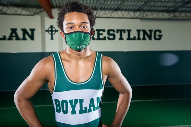 Dathan Wickson Jr., a powerful wrestler at Boylan, posed for a portrait at Boylan Catholic High School on Wednesday, May 5, 2021, in Rockford.