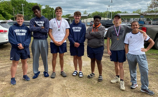 Members of the Shawnee High School boys tennis team are: (from left to right) Ryan Staal, Kelon Chandler, Will Stewart, Payton Greenwood, Dymire James, Aidan Grein and Hyrum Miner.
