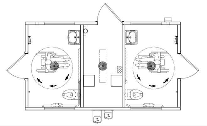 The proposed design of a restroom unit considered to replace outdated facilities at Glenn Collins Park at Shawnee Twin Lakes.