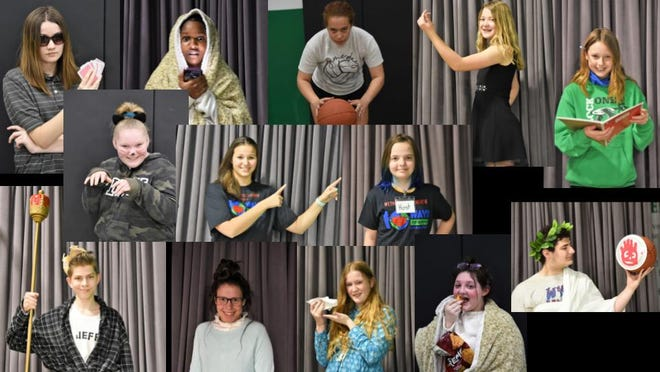 """Wethersfield School cast members for Friday's performance of """"10 Ways to Survive Life in Quarantine are, first row, from left: Alivia Lempke, Damani Crosson, Elle Eastman, Natalie Nelson and Laura Senteney; middle row: Saphyre Murphy, Chloe Liichow and Raiyna Verway; third row:  Parker Miskinis, Elizabeth McGill, Megan Oliver, Karlie Kravich and George Lathouris ."""