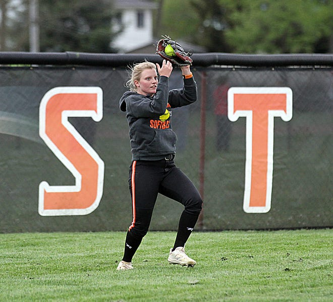 Shelby Bennett of Sturgis snags a fly ball out in centerfield against Vicksburg on Tuesday afternoon.