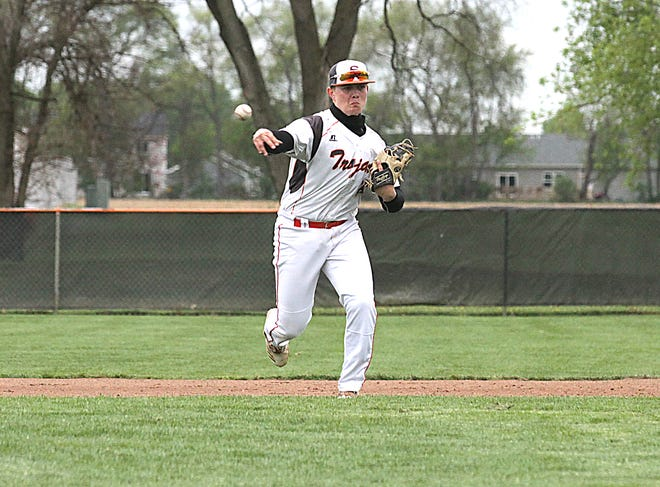 Sturgis third baseman Gibson Cary fires over to first base to record an out on Tuesday.