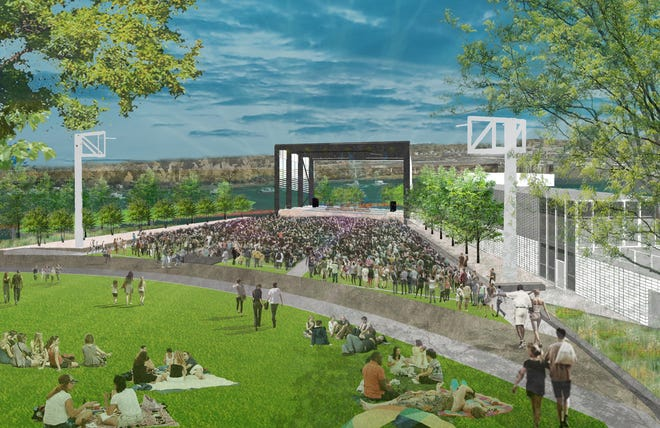 A rendering of the Riverfront Park Amphitheater in downtown Wilmington.