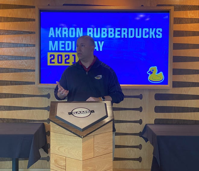 RubberDucks General Manager Jim Pfander speaks during the team's media day at Canal Park.