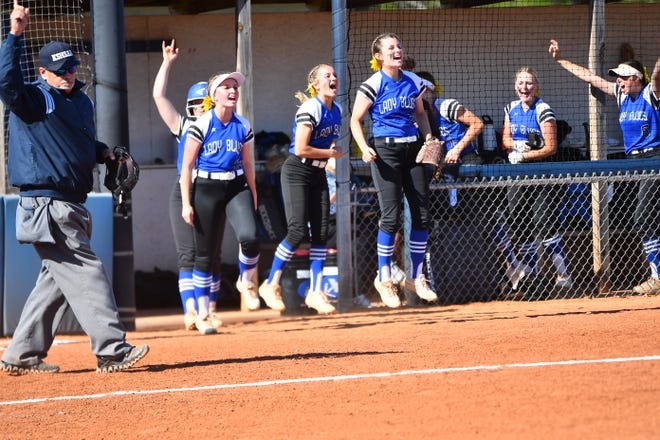 Washburn Rural's bench erupts in celebration after Kaci Bath's three-run home run in the fifth inning of Tuesday's opener with Seaman. The home run keyed a 5-2 win and Rural hit four more in the second game to win 14-6.