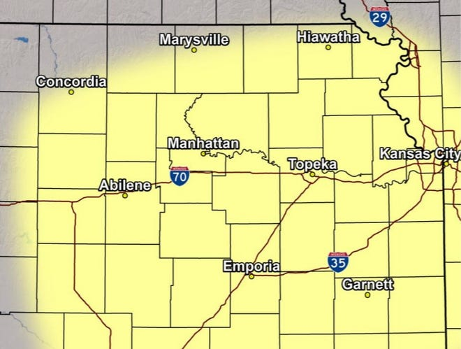Severe storms are possible Saturday in the area shown in this map, according to the National Weather Service.