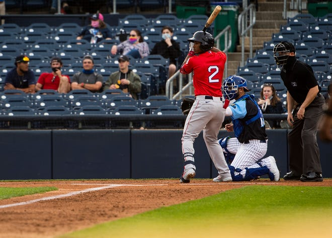 TRENTON - Jeter Downs steps up to the plate for the first time during the first WooSox game in team history against the Buffalo Bisons on Tuesday, May 4, 2021.