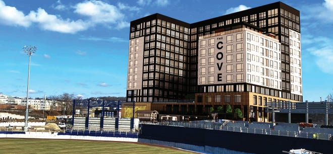 Developers have submitted this rendering to the city. The new building will offer a view of Polar Park.
