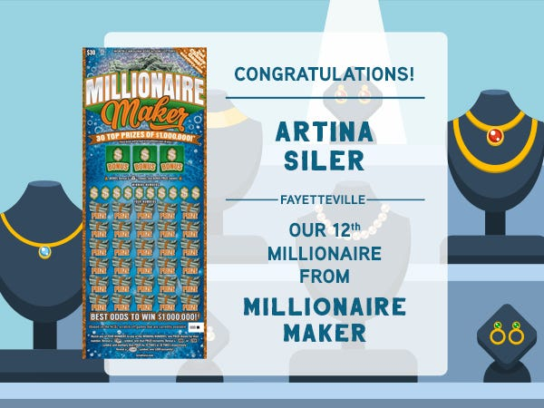 A Fayetteville woman is the 12th person to win a $1 million scratch-off lottery prize.