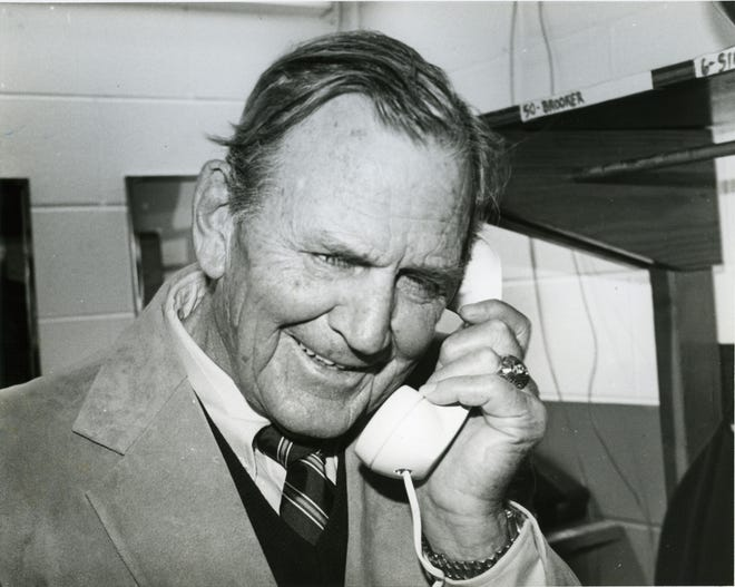 """Legendary University of Alabama football coach Paul W. """"Bear"""" Bryant was featured in a telephone company ad reminding people to give their mothers a phone call. [Submitted photo]"""