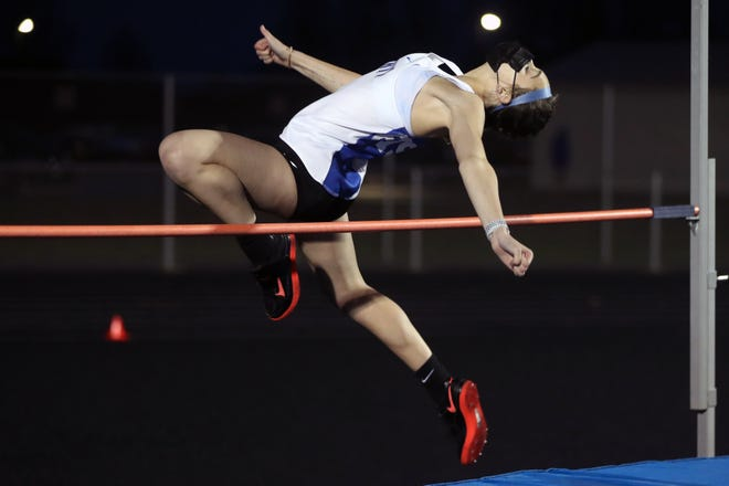 Liberty's Taylor Weiss competes in the high jump during the Berlin Invitational on April 9. Weiss and Camryn Thompson give the Patriots two strong competitors in the event.