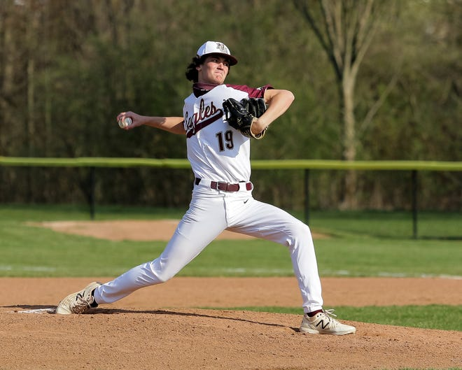 Elijah Griffith has been leading a deep New Albany pitching staff. He was 5-0 with a 0.56 ERA, 33 strikeouts and five walks in 25 innings through 20 games. The Eagles were 16-4 before playing Westerville Central on May 6.