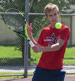 Centennial senior Max Wissman competes in the City League tournament April 26 at South. Wissman has been at first singles all season for the Stars, and he's the fourth seed for the Division II sectionalMay 13 and 15 at Columbus Academy.