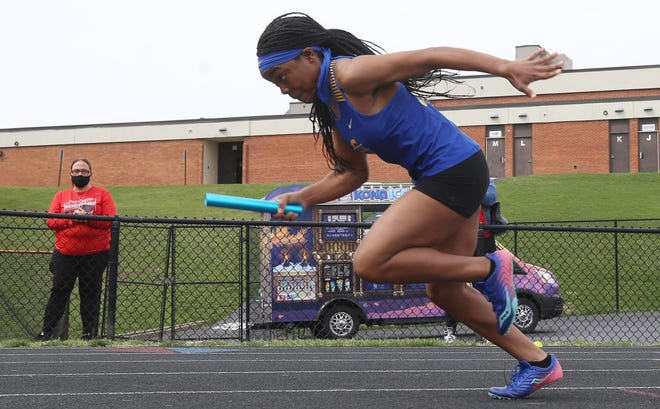 """Ayannah Stafford is among the contributors in the sprints for the Gahanna girls team. """"Right now they're unquestionably the best sprint crew in the state. This is the deepest quality sprint crew I've ever had, and that's saying a lot,"""" coach Roger Whittaker said."""