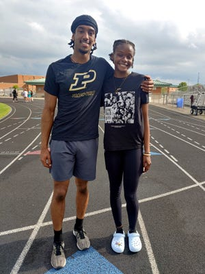 North track and field standouts Zamen Siyoum (left) and Amara Okpalaoka have become two of the state's top athletes. Siyoum, a Purdue recruit, was top-ranked statewide in the 110 hurdles last week by Athletic.net. Okpalaoka, who has signed with Toledo, was ranked sixth in the long jump. Both also are sprinters and run relays.