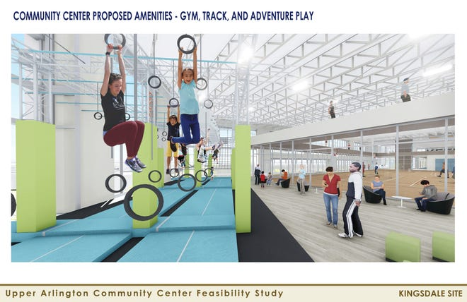 This conceptual rendering shows what a portion of Upper Arlington's future community center could look like. The city is moving forward with plans for a $54.2 million community center at the Kingsdale Shopping Center after voters approved Issue 2 on May 4.