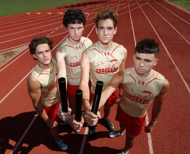 From left, first leg Ryan Edwards, third leg Will Boyles, second leg Cory Ferriera and anchor Juan Garcia. The Coronado 1,600-meter relay team will be competing in the state meet in Austin on Friday.