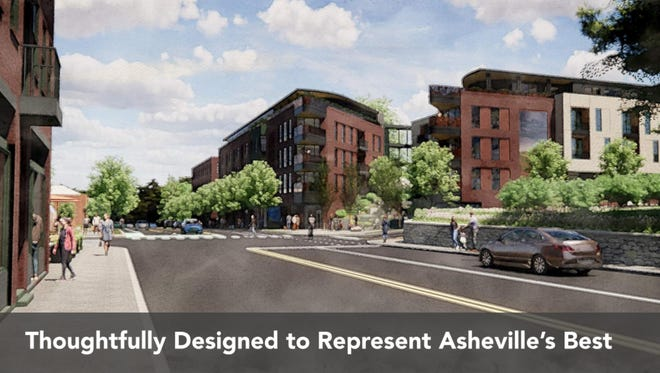 Renderings presented at the May 5 meeting of the Asheville Planning and Zoning Commission show renderings of the proposed 101 Charlotte Street development. The Asheville Planning and Zoning commission moved to send a favorable recommendation to the city council in a split vote June 2.