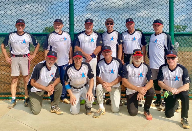 The Rocket Crafters 65 Softball team is: Bottom from left: Victor Rodriguez, Gene Mitchell, Rick Orcutt, Pat Girard, Ernie Thibodeaux. Top from left: Team Manager Dan Deratany, Steven (Buzzsaw) Dykes, Clete Sanders, Roger Jubert, John Golembiewski, and Fred Lohrman.