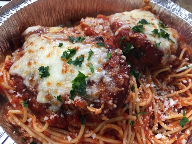 Chicken parmesan with spaghetti at The Food Bar in Essex Junction on April 21, 2021.