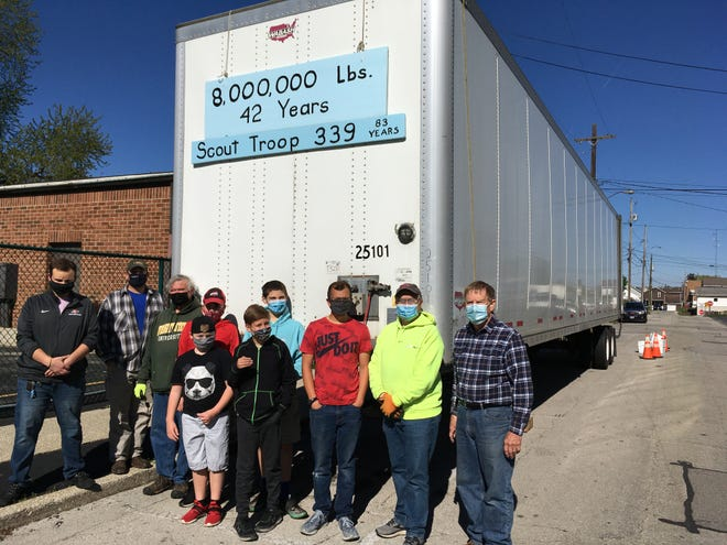 St Ann's Scout Troop 339 exceeded the 8,000,000 pound mark of newspaper collected over their 42 continuous years of quarterly paper drives.