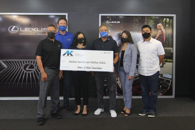 """Atkins Kroll, through its Community Matters program, this week donated $1,914 to the Make-A-Wish Foundation, at AK's Toyota showroom. """"We hope that today's donation will assist in making a wish come true for one of Guam's children facing a critical illness, said AK business development Director Ernie Galito. The check amount is based on the year 1914, when the company was started, according to Galito. The check was presented to Make-A-Wish President & CEO Eric Tydingco, and board members Suzanne Perez, Brian Bamba and Pierre Frenay."""