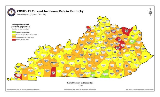 This color-coded map from the Kentucky Department for Public Health shows the incidence rate of COVID-19 cases for each county in the state.