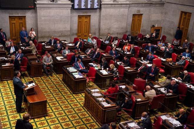 The Tennessee House of Representatives convene at the end of the legislative session in the Tennessee House of Representatives in Nashville, Tenn., on Wednesday, May 5, 2021.