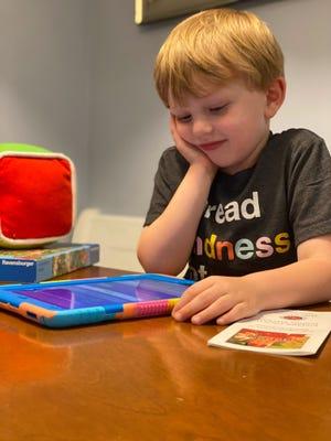 Cooper Murphy, who has been registered for kindergarten in Dickson County Schools, uses the Smarty Ants app.