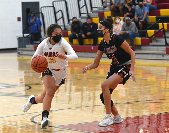 Centennial's Larissa Laborin drives down the lane as the Hawks take on Eldorado High in the quarterfinals of the 5A state tournament in Las Cruces on May 4, 2021.