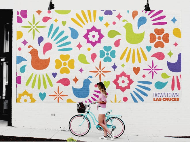 """Downtown Las Cruces Partnership announced a new mural to promote its campaign titled """"Go•Thrive•BeDowntown Las Cruces"""" will be painted on thewest side of the Insta-Copy Imaging building,318 N Main St. DLCP sent this image as an example of what the mural will look like."""