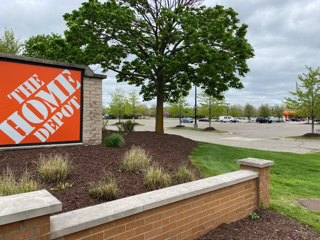 This outlot in front of the Home Depot in Canton could be developed with a new commercial building.