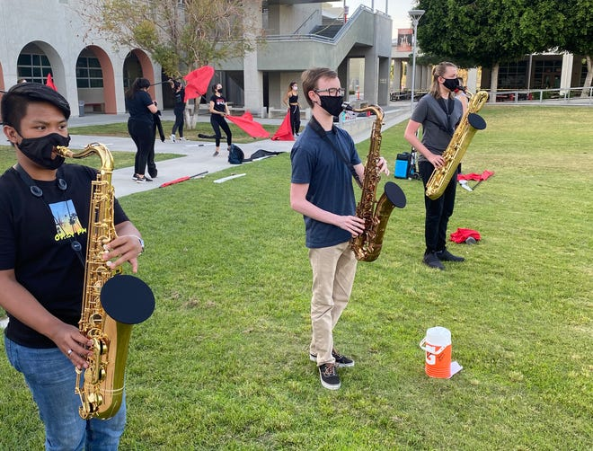 The students at Palm Desert High School make beautiful music with the protection of the bell covers provided by the Desert Sands Educational Foundation.