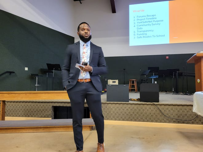 Montez Parker, a consultant hired by Better York, speaks at a public forum about a proposal to install a citywide surveillance network on Tuesday, May 4.
