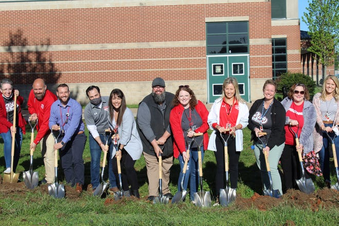 Nixa school employees and community leaders were part of the groundbreaking Wednesday for the Aetos Center for Performing Arts in Nixa.