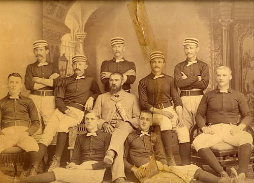The El Paso Browns baseball Champions of the Southwest in 1886.  Players included: (standing) John M. Kelly (CF); Frank Ireland, (LF and Pitcher) and Patsy Sullivan (RF). Seated: Danny Greelan, (SS); Maury Edwards (3B); Ed Fink (Manager) and Juan Hart (2B).