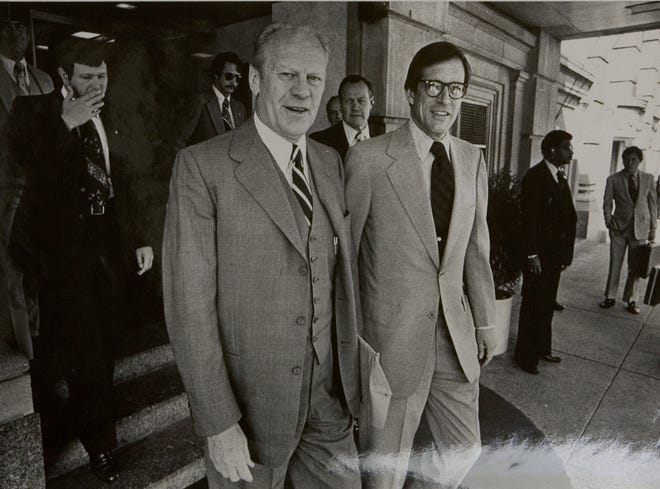Former President Ford and Gov. Pierre S duPont IV at Hotel du Pont on May 22, 1980.