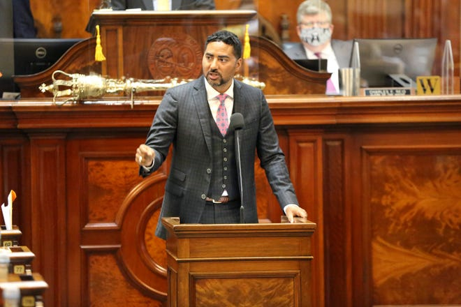 South Carolina Rep. Justin Bamberg, D-Bamberg, speaks against a proposal to add firing squads to the state's methods of execution along with the electric chair and lethal injection on Wednesday, May 5, 2021, in Columbia, S.C. The state hasn't executed anyone in 10 years because it can no longer obtain the lethal injection drugs.