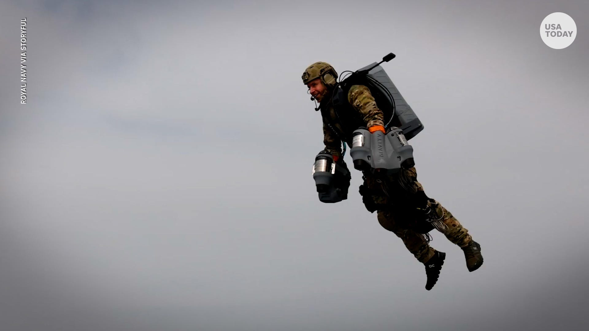 British Iron Man? Royal Navy tests jet suit, flying from battleship to boat