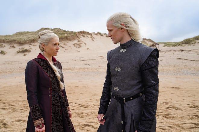 "Emma D'Arcy as Princess Rhaenyra Targaryen and Matt Smith as Prince Daemon Targaryen in ""Game of Thrones"" prequel ""House of the Dragon."""