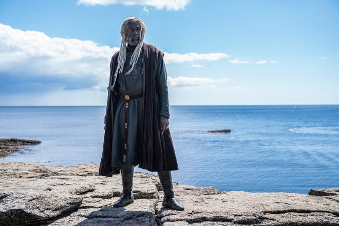 """Steve Toussaint as Lord Corlys Velaryon, """"The Sea Snake,"""" in """"House of the Dragon,"""" HBO's """"Game of Thrones"""" prequel series."""