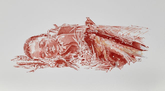 An artist's interpretation of the burial of a 3-year-old child in Africa 78,000 years ago.