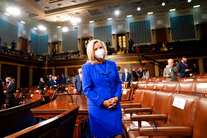 Rep. Liz Cheney, R-Wyo., arrives to the chamber ahead of President Joe Biden speaking to a joint session of Congress on April 28, 2021, in the House Chamber at the U.S. Capitol in Washington.