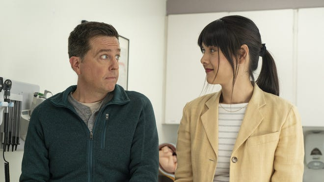"""Ed Helms (left), Patti Harrison in """"Together Together,"""" directed by Nikole Beckwith. (Tiffany Roohani/Bleecker Street/TNS)"""