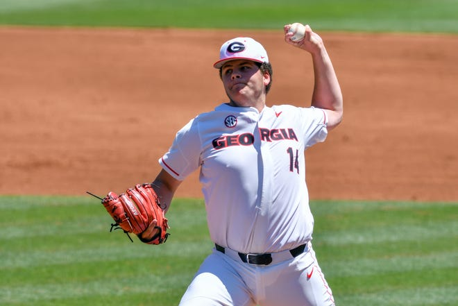 Georgia pitcher Liam Sullivan (14) during a game against Auburn a at Foley Field in Athens, Ga., on May 1, 2021. (Photo by Rob Davis)