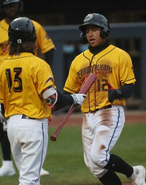 Trenton Brooks, left, is one of several players to be promoted to Triple-A Columbus but  Bo Naylor, right, and the replacements called up from Class A have kept the momentum going and the RubberDucks have the best record in the Double-A Northeast. [Mike Cardew/Beacon Journal]