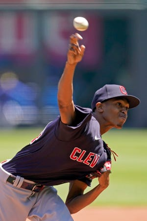 Cleveland starter Triston McKenzie pitches five strong innings in a 4-0 win over the Kansas City Royals on Thursday afternoon. [Charlie Riedel/Associated Press]