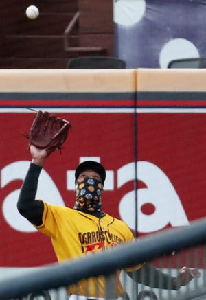 RubberDucks outfielder Will Benson catches a fly ball in the fifth inning against the Binghamton Rumble Ponies in their game at Canal Park in Akron on Wednesday night. A first-round pick, Benson hopes to work his way to Cleveland as soon as he can. [Mike Cardew/Beacon Journal]